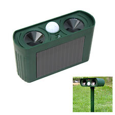 SOLAR Dual Ultra Sonic Garden Animal Scarer PIR Deterrent Cat Dog Fox Repeller
