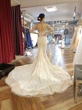 Auth Inbal Dror Br 15-16 Mermaid Embeded Lace Wedding Dress Gown Sz.0 Auth