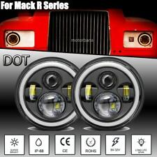 "DOT 7"" Inch LED Headlights Hi/Lo Beam Halo Ring H4 H13 300W For Mack R Series"
