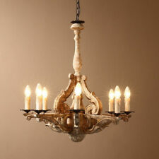 Retro French Country Chandelier Carved Wood 8-Light Lighting Ceiling Pendant