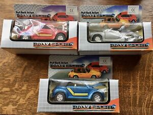 Pull Back Action Rally Sport Models - 2 Volkswagon Beetles - Porsche Convertible