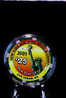 2001 NEW YORK CASINO LAS VEGAS NEW YEARS EVE $25 CASINO CHIP MINT