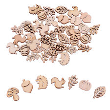 50 PCs Mixed Wooden Craft Squirrel Leaves Mushroom Shape Hedgehog Decoration I2