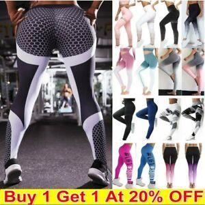 Women High Waist Gym Leggings Stretch Fitness Sports Running Train Yoga Pants UK