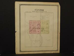 North Dakota Oliver County Map Center Fort Clark Township 1917  Dbl Side  J7#12
