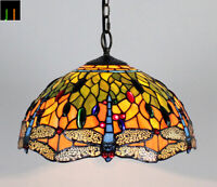 New JT Tiffany Stained Glass 16 Inch Shade Dragonfly Pendant Lamp Light Home Art