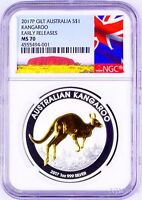 2017 P Australia GILDED Silver Kangaroo NGC MS 70 1 oz Coin w/OGP gilt NEW LABEL