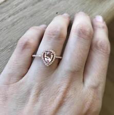 Morganite Engagement Ring with Diamonds,Pear Shape,Halo,14K White Gold Finish