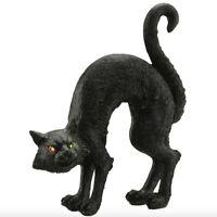 "Black Cat Figurine Halloween Decor Prop Light House Horror Vintage LED 8"" Center"