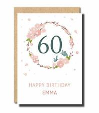 personalised 60th Birthday Card for women floral Cute mum mom grandma card FB75