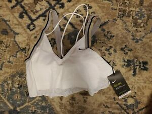 NWT Nike Women's Indy Light Support Sports Strappy Bra White Mesh Size Medium