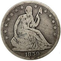 1859-O Seated Liberty Half Dollar Silver - Rare Type Coin .