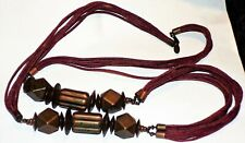SIGNED MIRIAM HASKELL CHUNKY COPPER/BRASS? LONG VTG.BOHO ETHNIC LEATHER NECKLACE