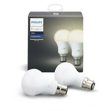 Philips Hue White Personal Wireless Lighting LED B22 Twin Pack Bayonet Cap Light