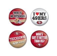 """San Francisco 49ers Wincraft NFL Button Pins 4 Pack 1-1/4"""" Round FREE SHIP!"""