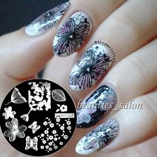 Qgirl-013 Nail Art Stamping Image Plate Manicure Butterfly Flower Leave Pattern