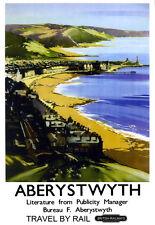Aberystwyth Travel by Rail British Railways  Train Rail Travel  Poster Print