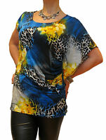 LADIES NEW SUMMER HOLIDAY FLORAL BATWING BLOUSE TOP RED BLUE PLUS SIZE UK 12-18