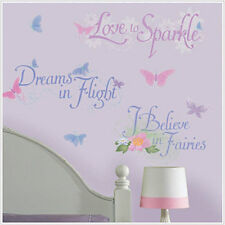 Disney Fairies PHRASES wall stickers 15 glitter decals quotes PIXIE DUST POWER +