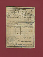 Documento Registrazione 1909 Impero Germanico Quittungskarte Firenzuola Neustadt