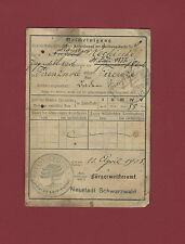 Documento Registrazione 1909 Impero Germanico Quittungskarte Firenzuola Neustadt