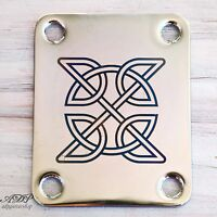 Plaque Manche Neck Plate Blue Celtic Knot Design Chrome Laser engraved