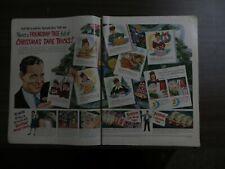 1951 Scotch Tape 2 Full Page Christmas Magazine AD Vintage