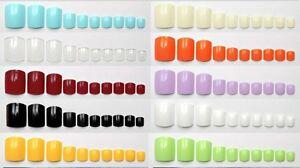 TOE NAILS False Fake Glue On 20 100 500 Natural Clear Coloured Toenails Tips Set