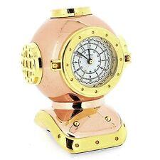 Miniature Rose Gold & Gold Plated Diver's Helmet Novelty Collectors Clock IMP91