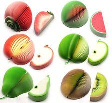 Lot de 6 mixte fantaisie 3D fruit forme memo note pads inhabituel cadeau bureau bloc-notes
