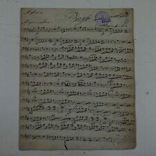 antique music manuscript MOZART posthorn serenade in D kv 320 double bass part