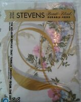 "Vintage Stevens Twin Flat Sheet (1) 72"" x 104"" Pink and blue Flowers NIP USA"