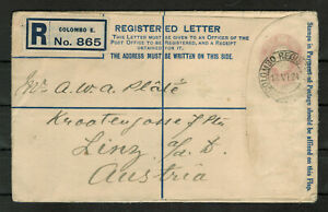 Ceylon Registered Letter with Embossed 10c KGV and tied Colombo Registered #4618
