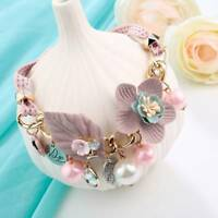 Stylish Crystal Pearl Flower Statement Necklace Pendants Choker Collar Jewelry