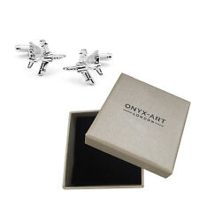 New Pair Of Silver Harrier Jump Jet Cufflinks & Gift Box by Onyx Art