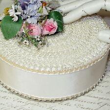 """50y SPOOL 1 3/4"""" WHITE VTG RAYON PICOT RIBBON ANTIQUE WEDDING VICTORIAN TRIM HAT"""