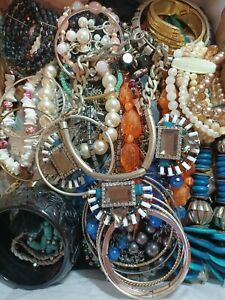 Huge Costume Jewelry lot 10.9 lbs. Necklaces bracelets earrings. Great variety.
