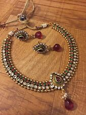 New Indian Pakistani Ethnic Bollywood Ruby White Crystal Adjustable Necklace Set