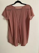 Lululemon Quick Pace Short Sleeve size 8 Quicksand mauve pink mesh Tie Back Top