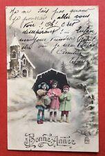 CPA. Bonne Année. Enfants. Parapluie. Neige. Eglise. Correspondance Intéressante