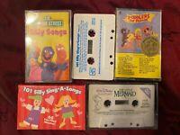 Lot of 5 Children's Cassette Tapes - LITTLE MERMAID / SINGALONGS / SESAME STREET