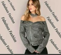 New Trendy & Chic Gray Bare Shoulders Moto Style Zip Faux Leather Jacket L