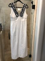 Sold Out J Crew Women's Embroidered Pom-Pom Maxi Dress White  Black  Size 8 $178