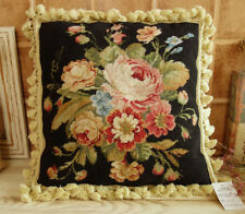 "16"" Beautiful Rose With Buds Bouquet Sofa Chair Decor Needlepoint Pillow Cushion"