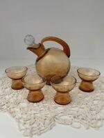 Elegant Glass-Cambridge #3400 Ball Set Amber 12 oz Decanter & 4 - 1 oz Cordials