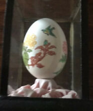 Vintage Easter Asian Oriental Hand Painted Egg Shell Red & Pink Flowers in Case