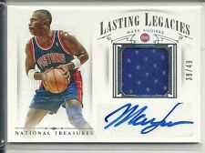 MARK AGUIRRE JERSEY AUTO /49 LASTING LEGACIES 2014-15 NATIONAL TREASURES PISTONS