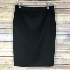 TED BAKER BLACK PENCIL STRAIGHT SKIRT WOOL BLEND BACK BUTTON DETAIL LINED SZ 2
