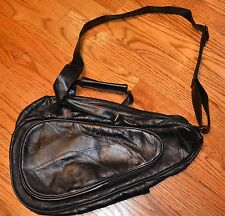 Black Leather Sling Backpack Satchel Purse Patchwork Leather COMFORT CARRY ALL