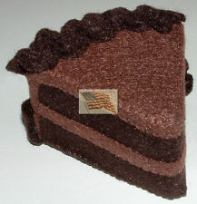 felt food play toys 1 CHOCOLATE CAKE WEDGE WITH DARK CHOCO FROSTING AND EDGE